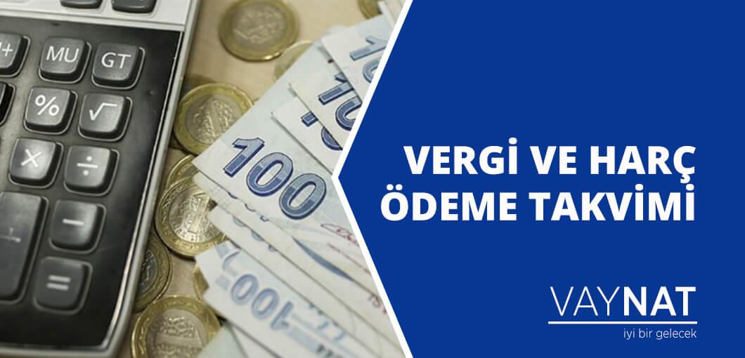 Vergi ve Harç Ödeme Takvimi 2020